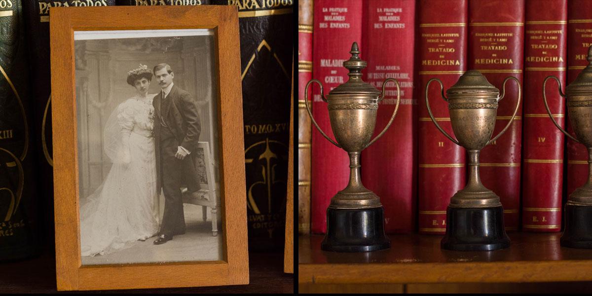 A la izquierda, retrato de boda de Teresa Ron y Eduardo Jardón, obra de Kaulak