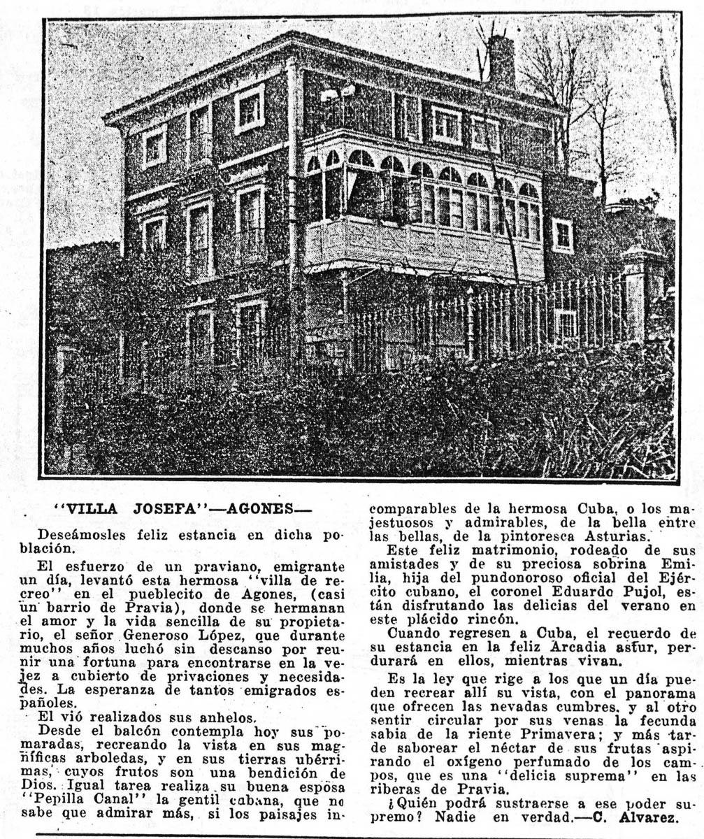 19160709 Asturias revista grafica Año 3 102 Pag 16 Villa Josefa Agones Generoso Lopez-2