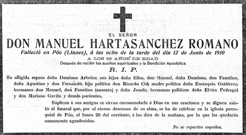 19100613 Esquela Manuel Hartasanchez Romano