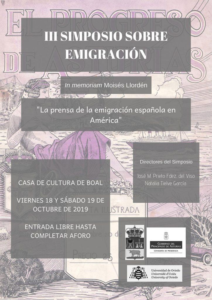 Cartel de las Jornadas sobre Emigración en Boal, Asturias