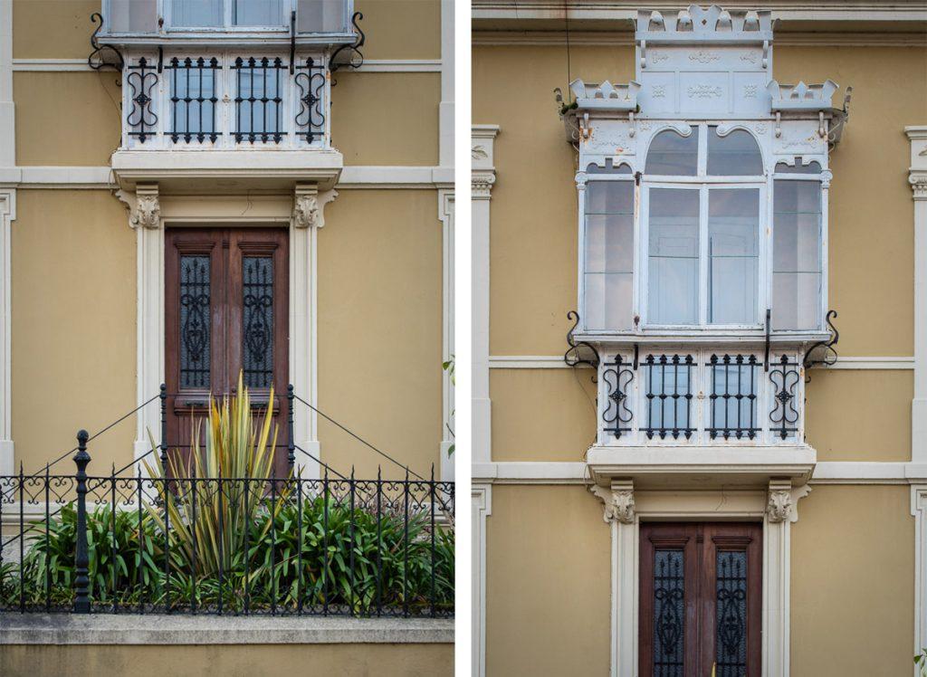 Detalles de la arquitectura del chalé Tetuán para el indiano Francisco Fernández en Luanco