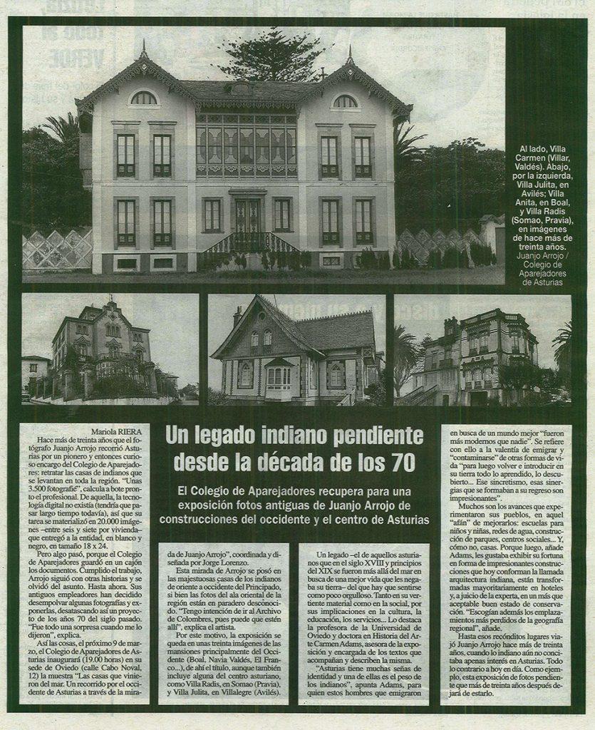 Artículo de La Nueva España sobre una exposición de fotos de casas de indianos