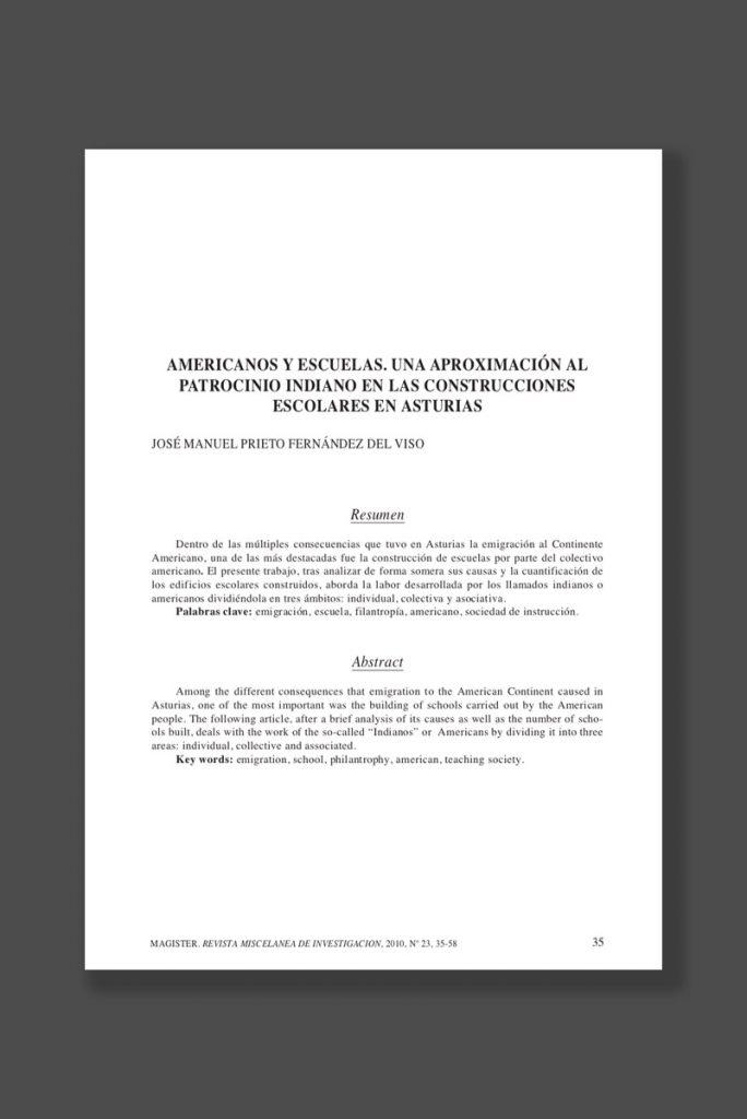 reproducción del libro Americanos y Escuelas bajo el patrocinio de los indianos