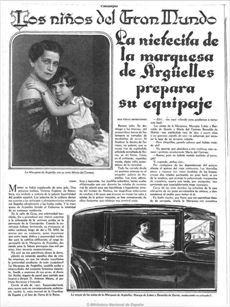 Artículo sobre la Marquesa de Argüelles en una revista de 1928
