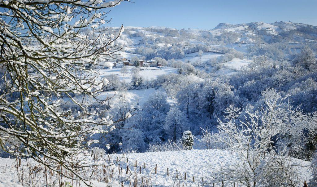 Felicitación Navideña con nieve a través de un paisaje en Piloña, Asturias
