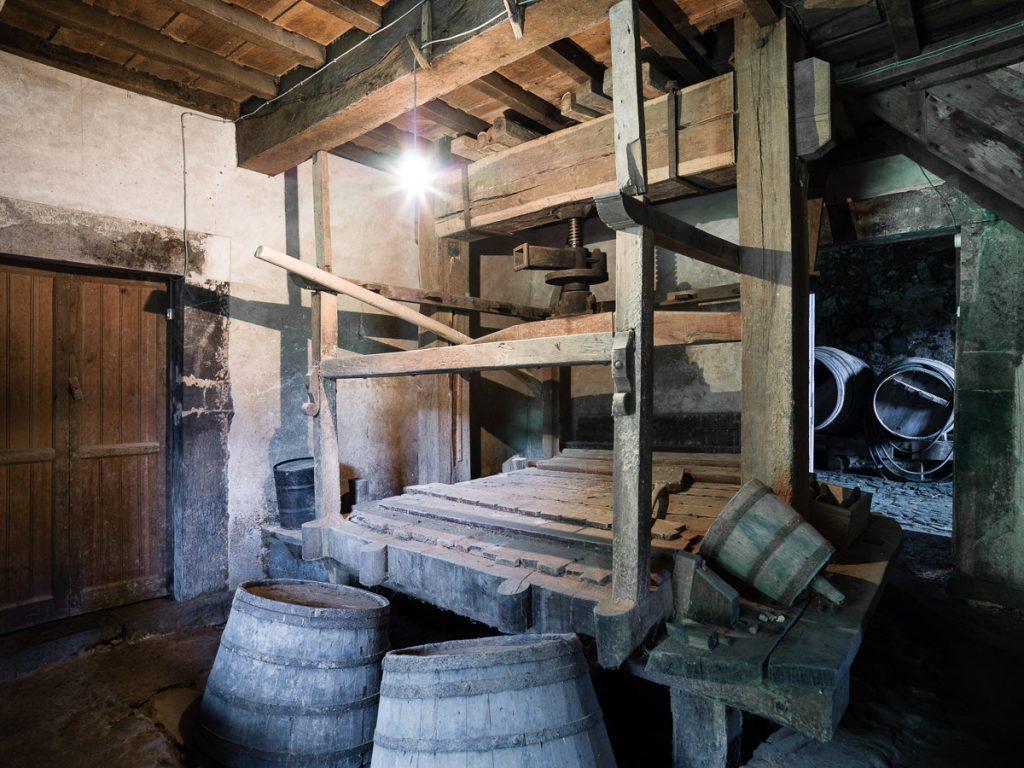 Prensa tradicional para la elaboración de sidra en Asturias