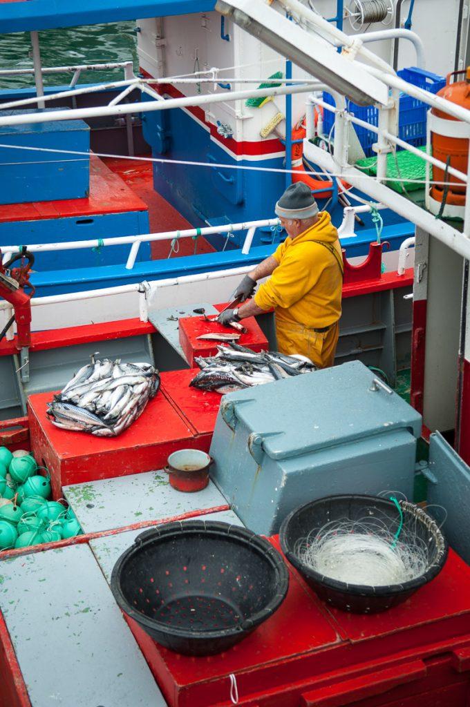 Barcos preparándose para salir a faenar en el puerto de Luarca, Asturias