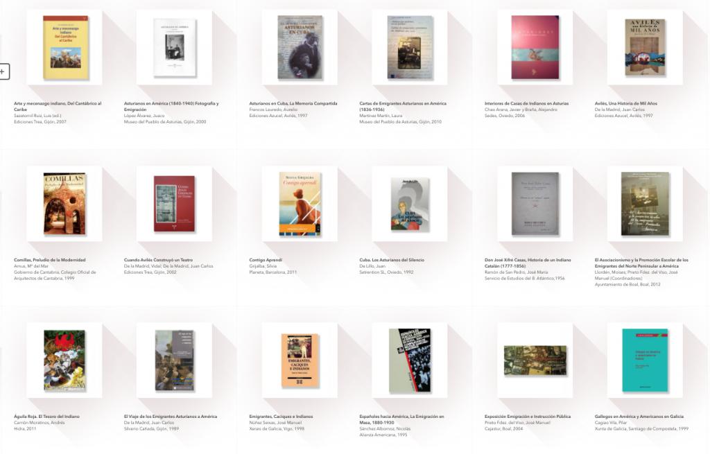 Muestra del ebook con los títulos incluidos en la Biblioteca Indiana. Bibliografía de referencia sobre indianos.